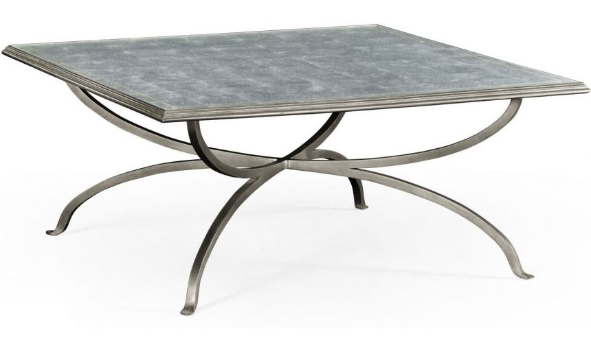 Modern Furniture Eglomise and iron square coffee table