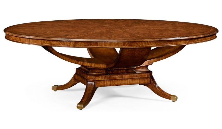 Biedermeier style walnut oval dining table