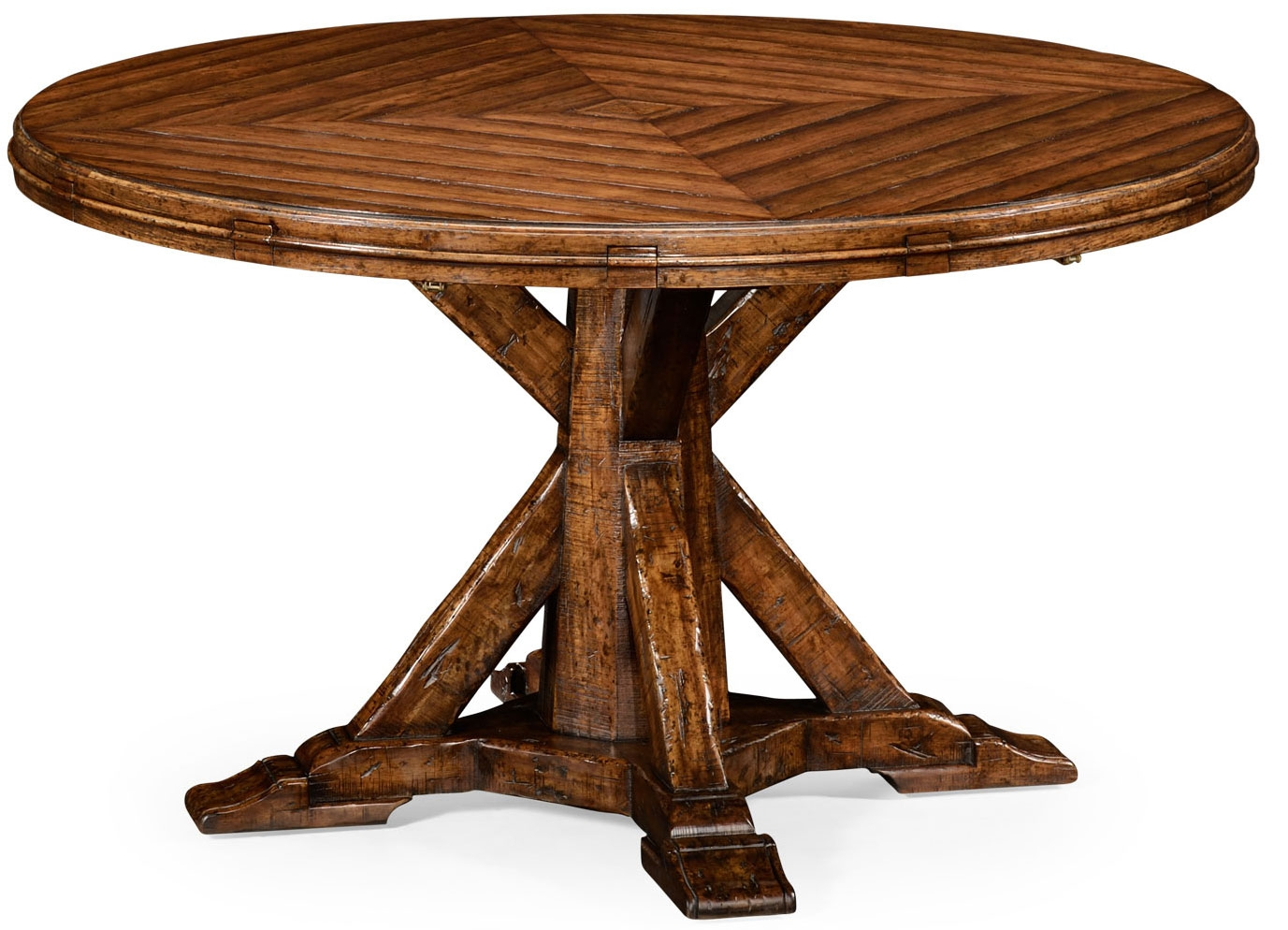 Heavy distressed parquet round to oval dining table for Distressed round dining table