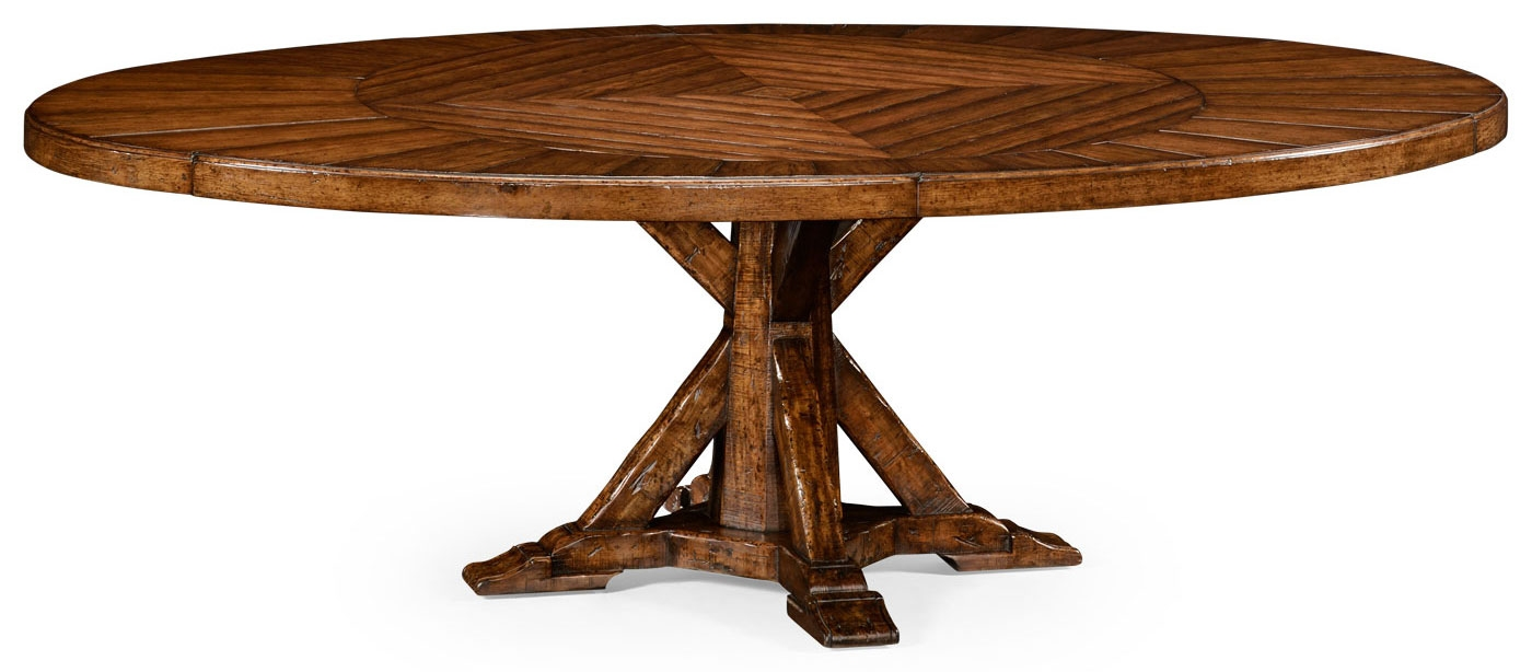 Genial Dining Tables Heavy Distressed Parquet Round To Oval Dining Table