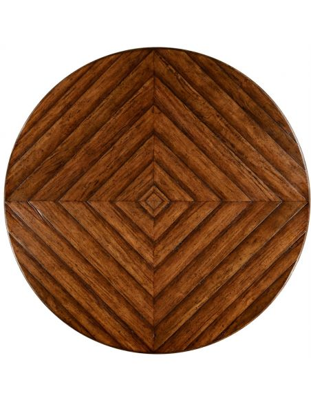 Dining Tables Heavy distressed parquet round-to-oval dining table