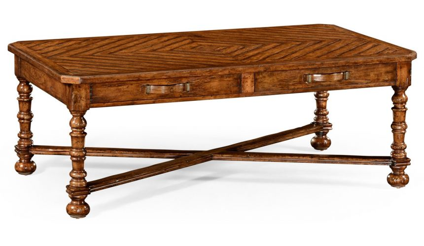 Coffee Tables Heavily distressed parquet coffee table with strap handles
