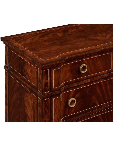 Modern Furniture Regency style mahogany reverse breakfront chest of drawers.