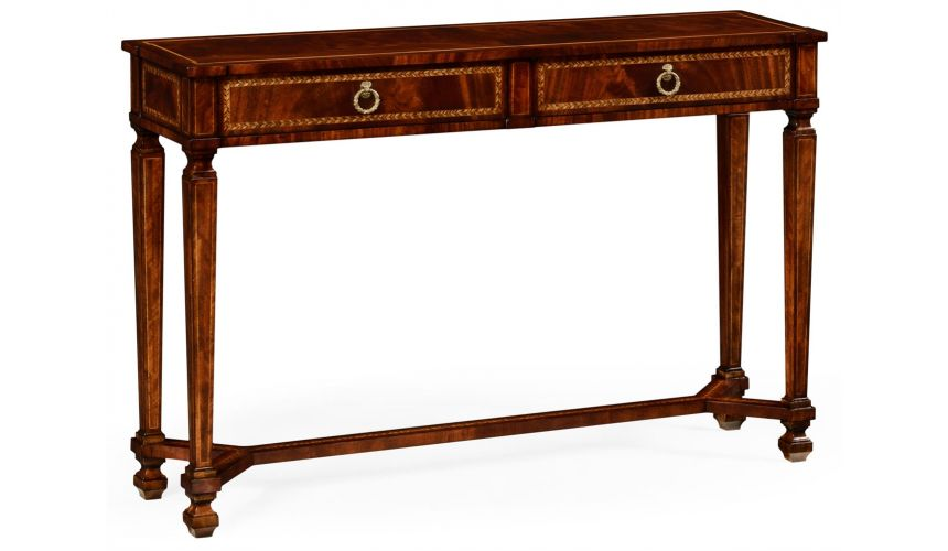 Console & Sofa Tables Empire style mahogany two drawer console
