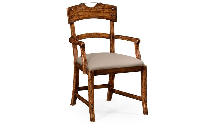 Dining Chairs Planked walnut rustic armchair with upholstered seat.