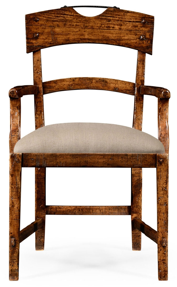 Captivating Dining Chairs Planked Walnut Rustic Armchair With Upholstered Seat.