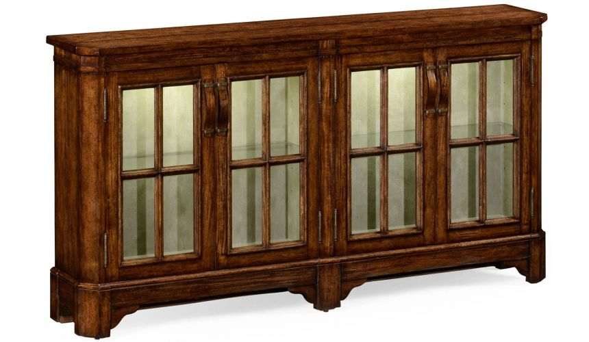 Breakfronts & China Cabinets Plank walnut low bookcase with strap handles (large).