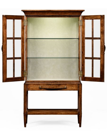Breakfronts & China Cabinets Plank walnut glazed display cabinet with strap handles.