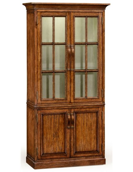 Breakfronts & China Cabinets Plank walnut tall bookcase with strap handles.