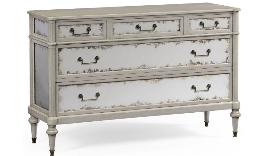LUXURY BEDROOM FURNITURE Grey painted and antiqued chest of drawers