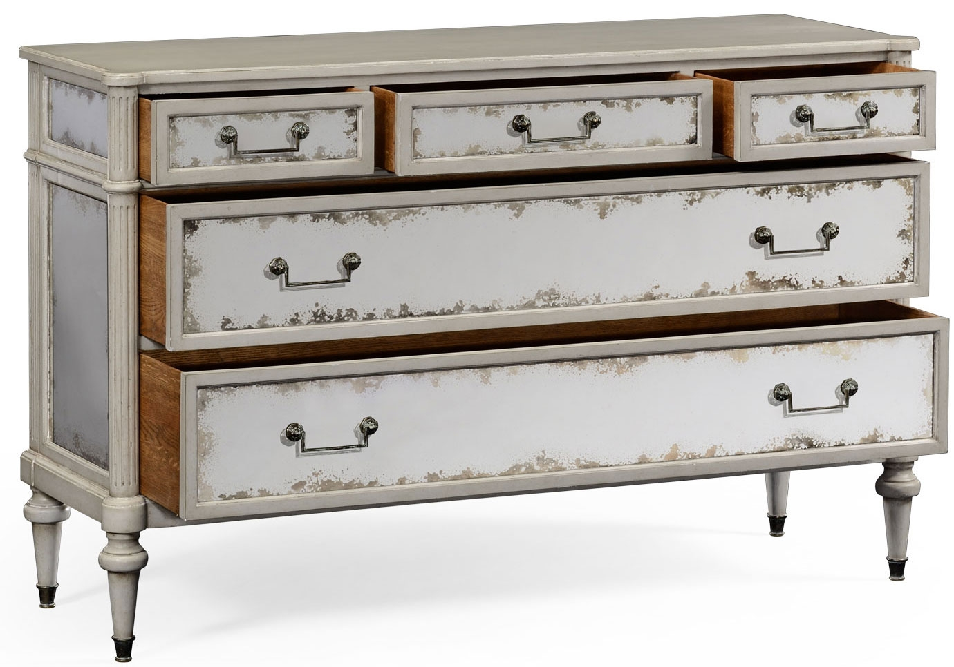 Grey Painted And Antiqued Chest Of Drawers