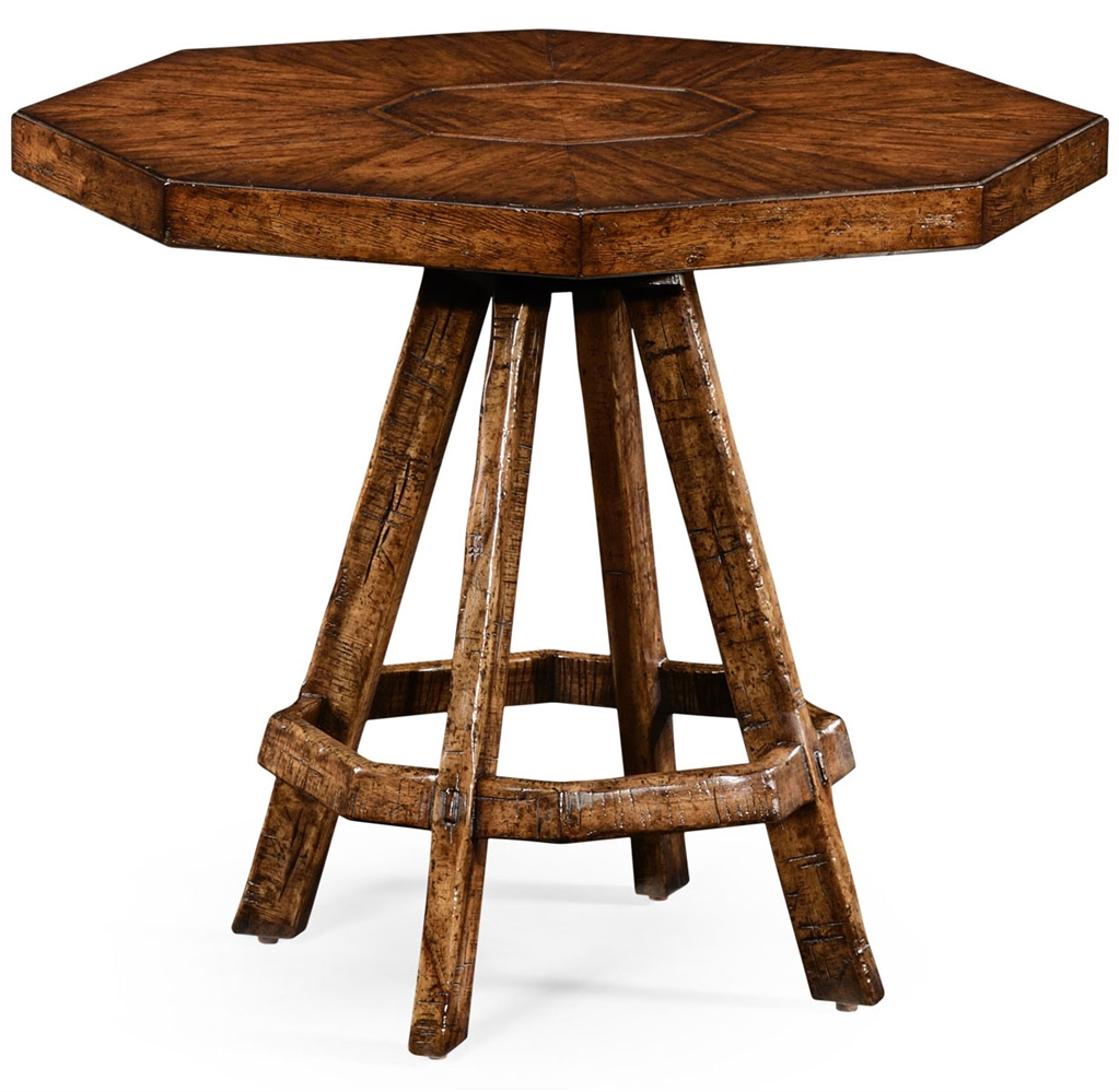 Home Bar Furniture Planked Walnut Rustic Side Table With Octagonal Top.