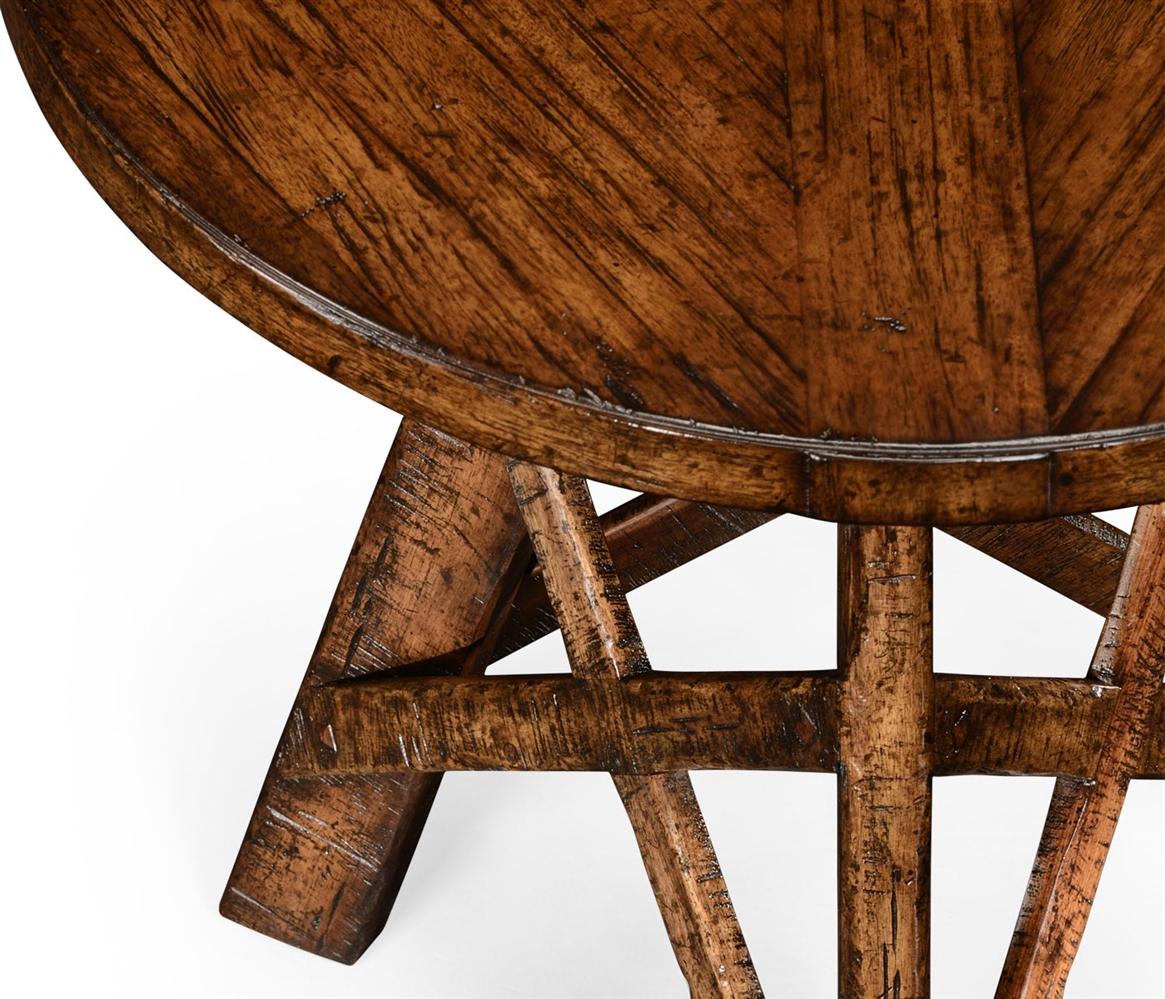 Planked walnut rustic lamp table with circular top round oval side tables planked walnut rustic lamp table with circular top geotapseo Image collections