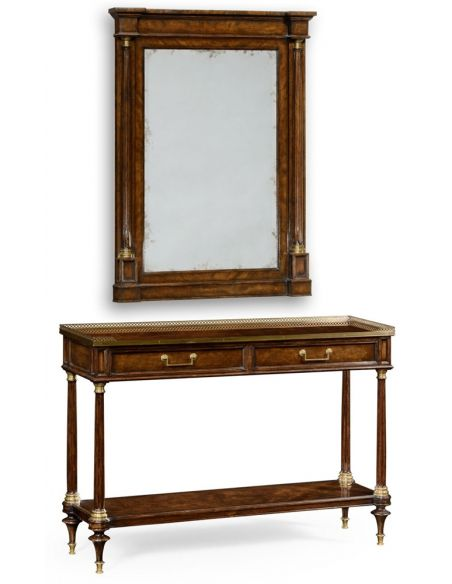 Console & Sofa Tables French style Mahogany console with brass gallery.