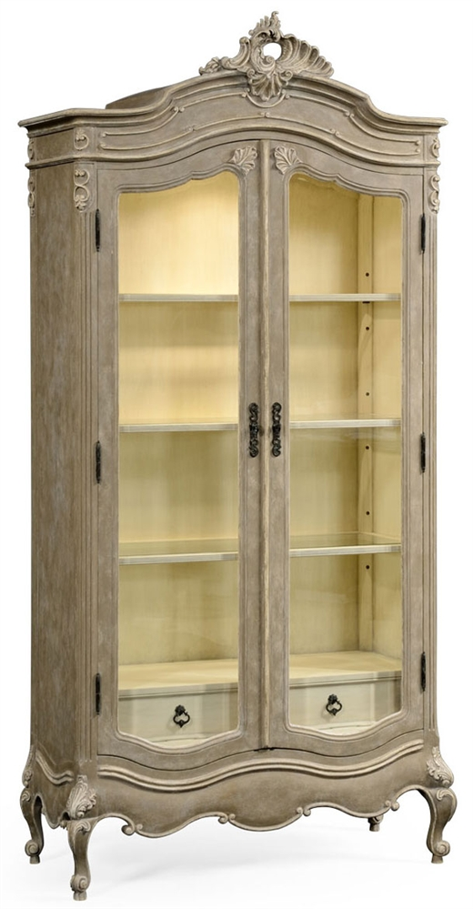 French provincial grey painted glazed armoire.