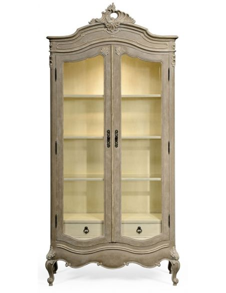 Breakfronts & China Cabinets French provincial grey painted glazed armoire.