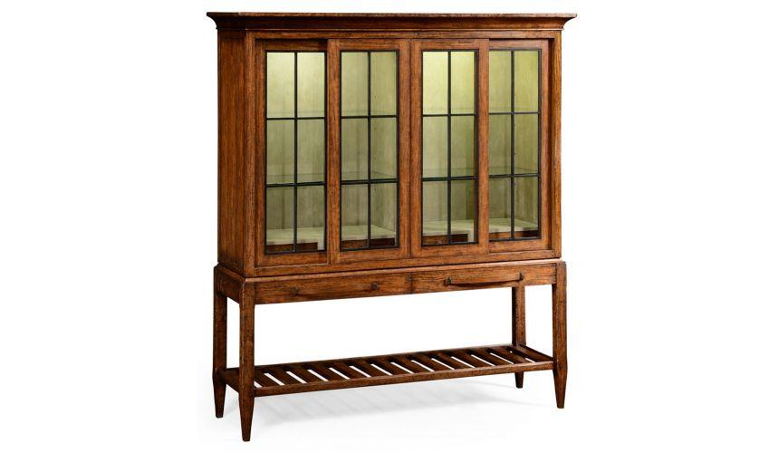 Breakfronts & China Cabinets Plank walnut glazed display double cabinet.