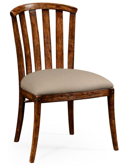 Dining Chairs Walnut country style curved back chair.