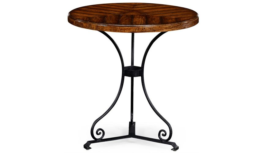Round & Oval Side Tables Walnut bistro style parquet table