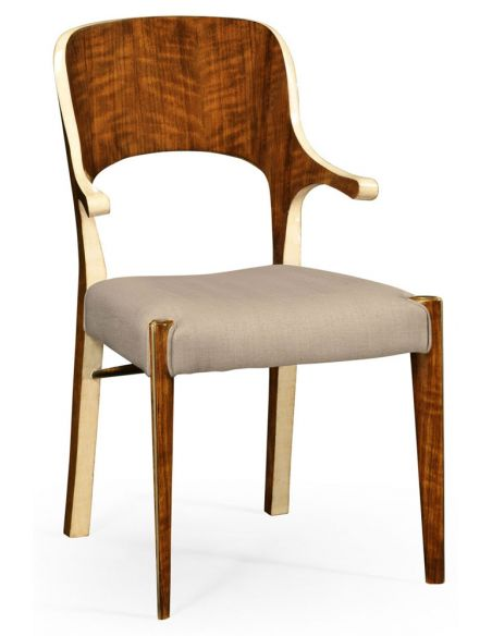 Dining Chairs Hyedua wood and ivory finish armchair.