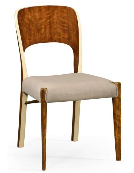 Dining Chairs Hyedua wood and ivory finish side chair.