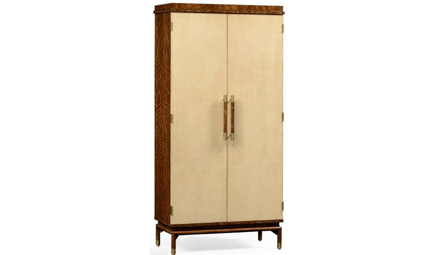 Home Bar Furniture Hyedua and ivory finish tall drinks cabinet.