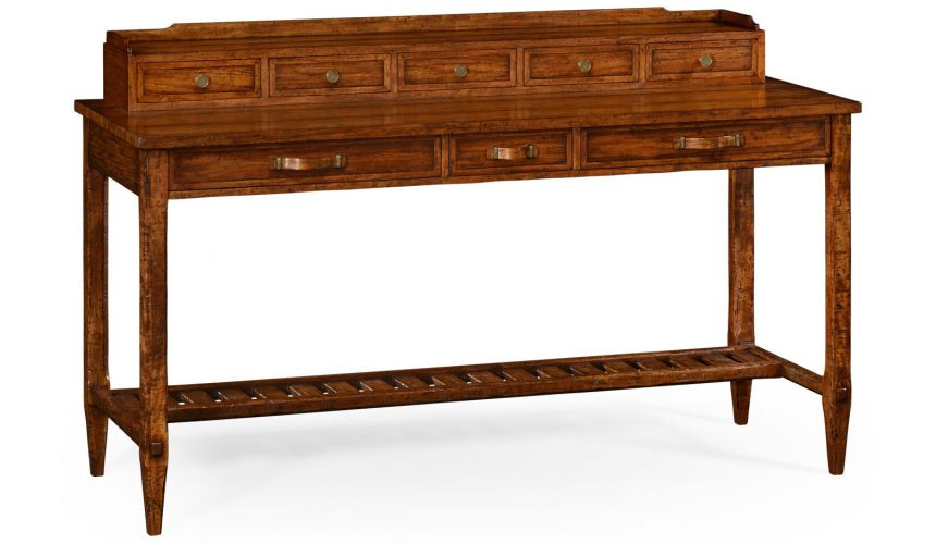 Breakfronts & China Cabinets Plank walnut sideboard with strap handles.
