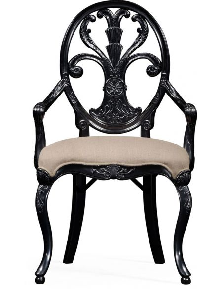 Dining Chairs Black painted sheraton style oval back armchair