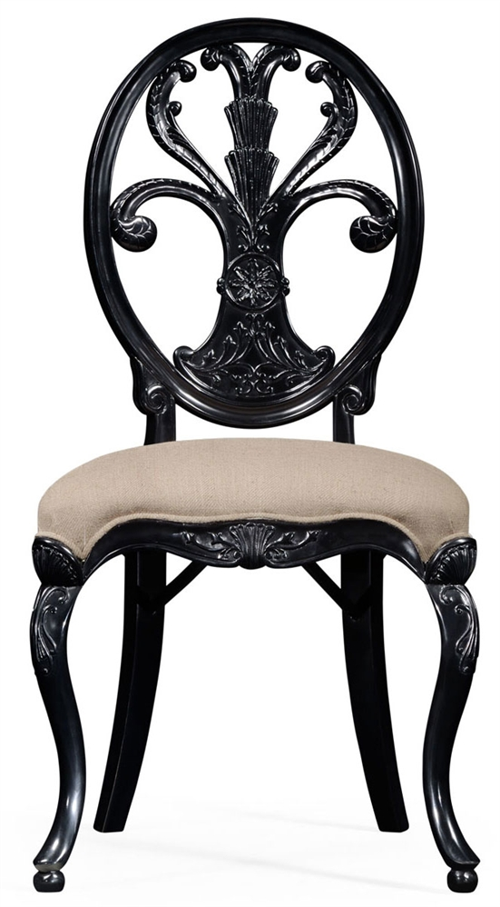 Black painted sheraton style oval back side chair for Oval back dining room chairs