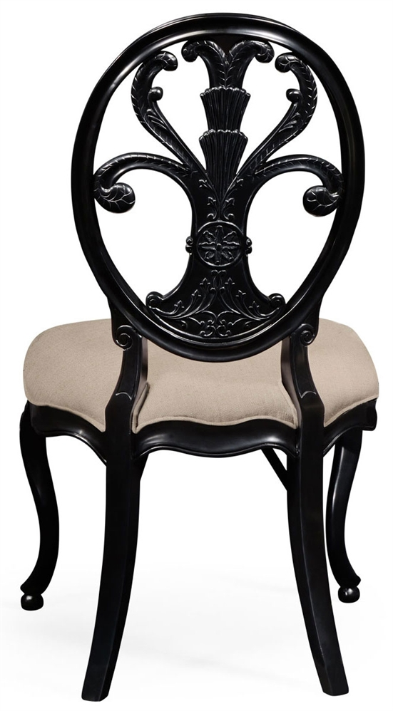 Oval Back Side Chair #44 - Dining Chairs Black Painted Sheraton Style Oval Back Side Chair