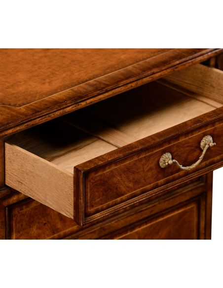 Executive Desks Crotch walnut compact single pedestal desk