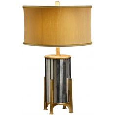 Eglomise and gilt metal table lamp