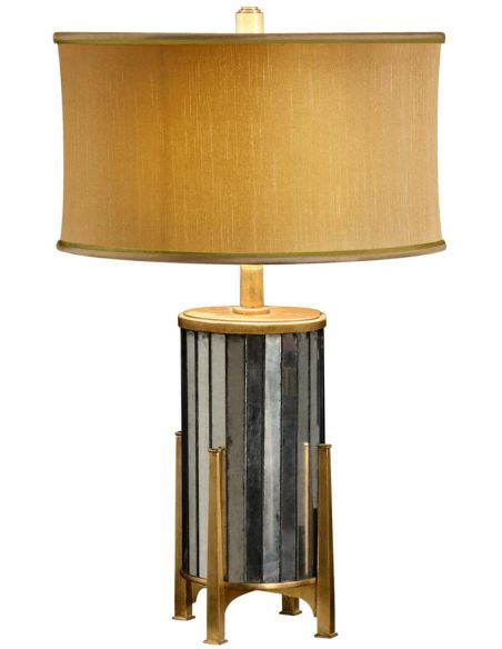 Modern Furniture Eglomise and gilt metal table lamp