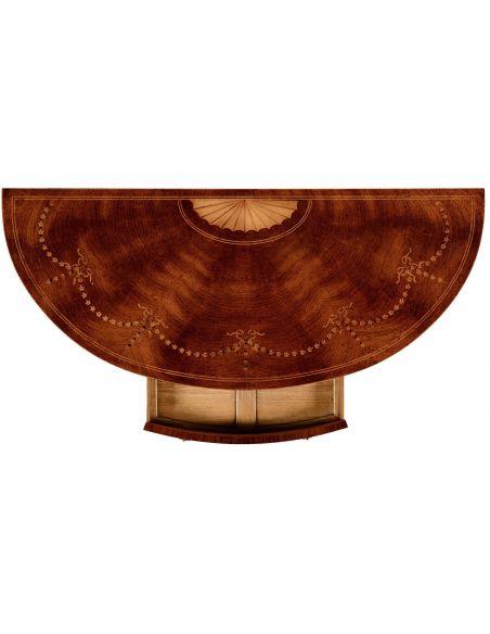 Breakfronts & China Cabinets Sheraton style mahogany bow fronted commode.