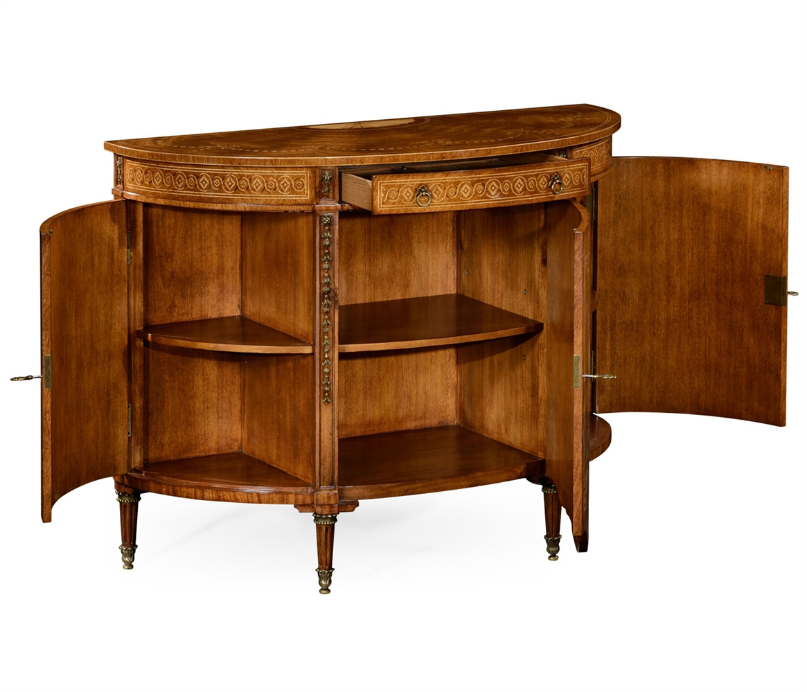 sheraton style walnut bow fronted commode. Black Bedroom Furniture Sets. Home Design Ideas