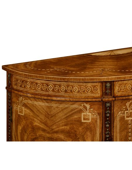 Breakfronts & China Cabinets Sheraton style walnut bow fronted commode.