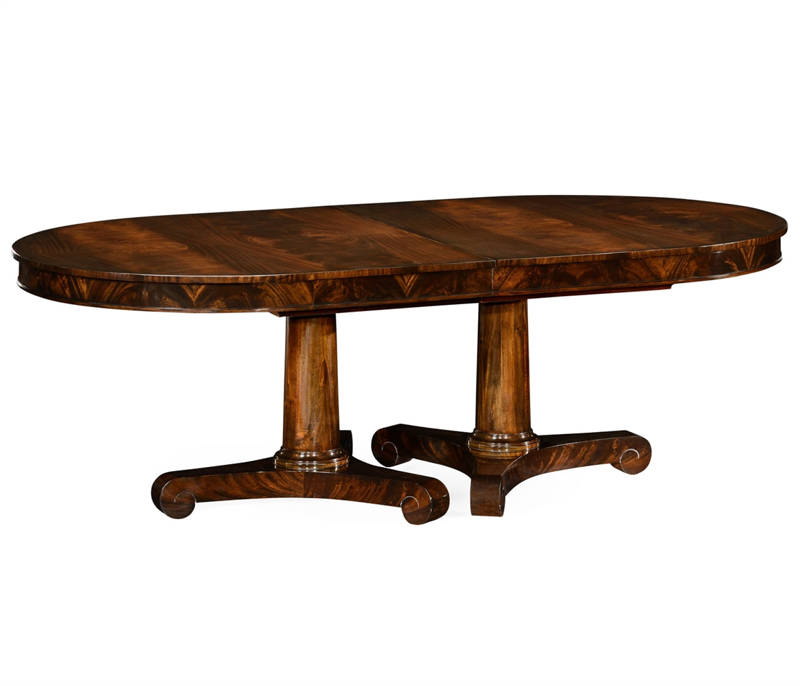 Mahogany twin leaf biedermeier style dining table for Dining room tables with leaves