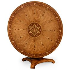 Flip top centre table with fine marquetry work