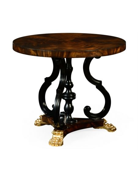 Foyer and Center Tables Mahogany centre table with gilt lions paw feet.