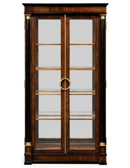 Breakfronts & China Cabinets Mahogany Regency style bookcase with columns.