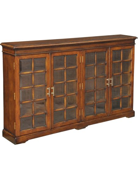 Bookcases Checked Wood & Glass Bookcase