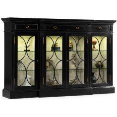 Black display cabinet with circular pattern door