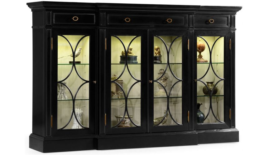 Breakfronts & China Cabinets Black display cabinet with circular pattern door