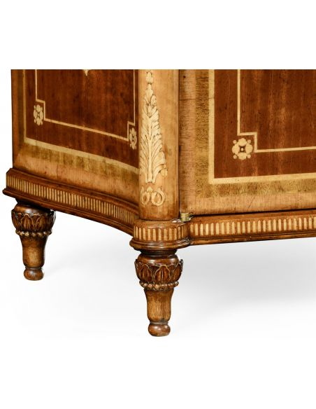 Square & Rectangular Side Tables Fine mahogany bedside cabinet with floral marquetry inlays (Left)