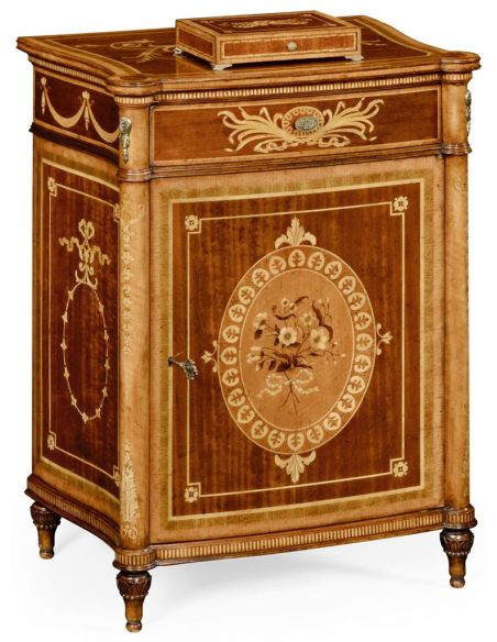 Square & Rectangular Side Tables Fine mahogany bedside cabinet with floral marquetry inlays (Right)