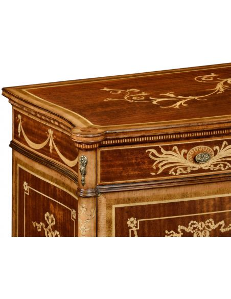 Breakfronts & China Cabinets Fine mahogany sideboard with floral marquetry inlays