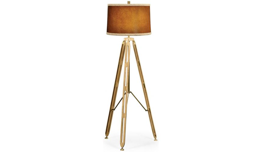 Lighting Three legged brass floor lamp