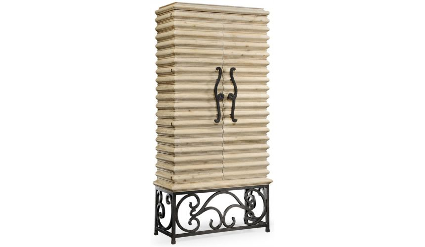 Home Bar Furniture Limed wood wine cabinet with wrought iron base