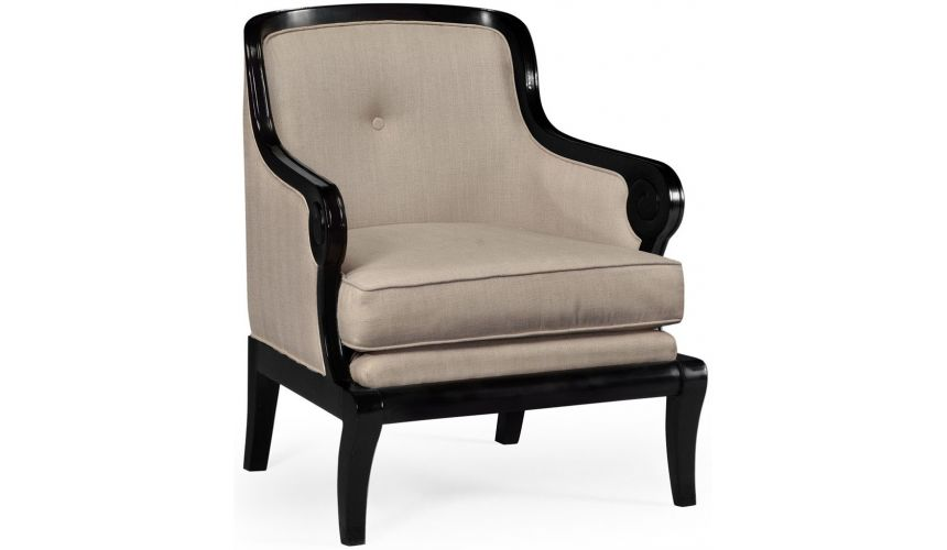 Luxury Leather & Upholstered Furniture Black and tan upholstered occasional chair