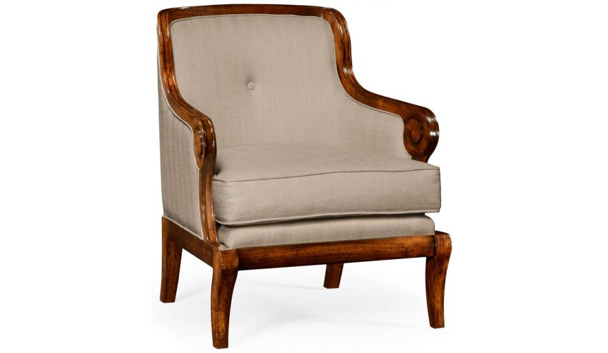 Luxury Leather & Upholstered Furniture Walnut upholstered occasional chair